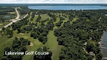 Aerial view of Lakeview Golf Course in Detroit Lakes, Minnesota.